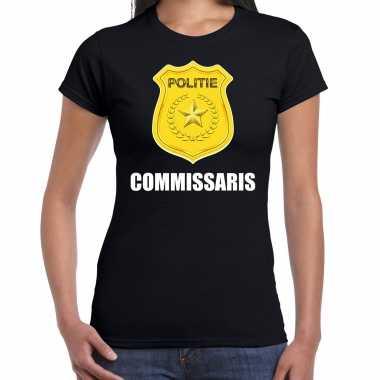 Commissaris politie embleem carnaval t-shirt zwart voor dames
