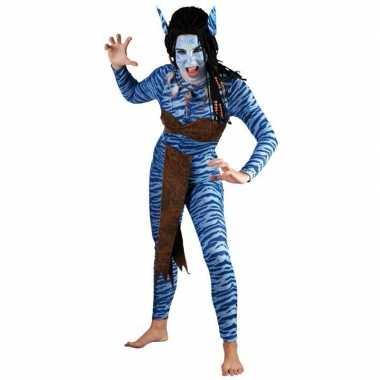 Dames Blauwe jungle strijdster verkleedkleding voor carnaval