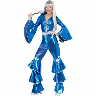 Dames disco pak blauw voor carnaval