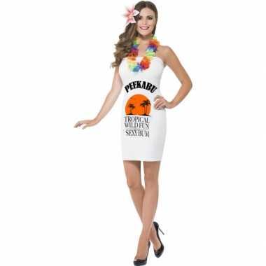 Dames jurkjes wit drank label peekabu voor carnaval