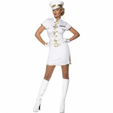 Dames kostuum kapitein wit voor carnaval