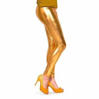 Dames lak legging goud voor carnaval
