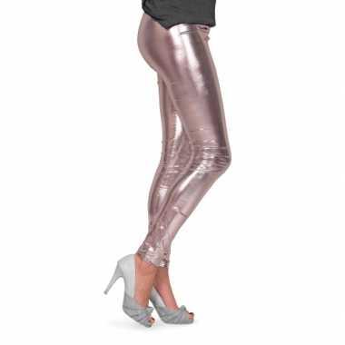 Dames lak legging zilver voor carnaval