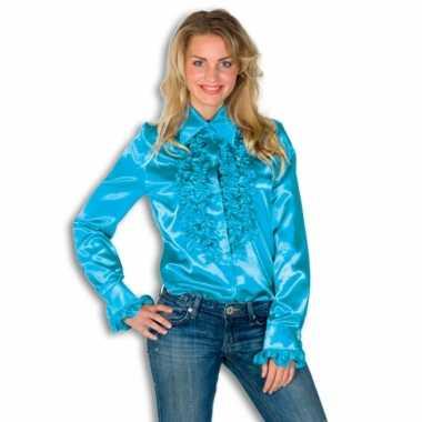 Dames overhemd blauw met rouches voor carnaval