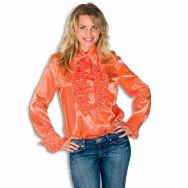 Dames overhemd oranje met rouches voor carnaval