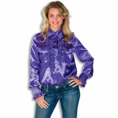 Dames overhemd paars met rouches voor carnaval