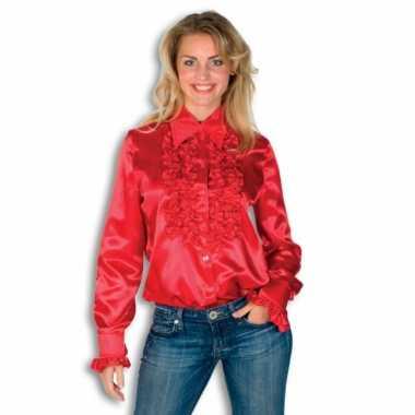 Dames overhemd rood met rouches voor carnaval