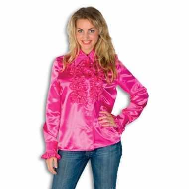 Dames overhemd roze met rouches voor carnaval