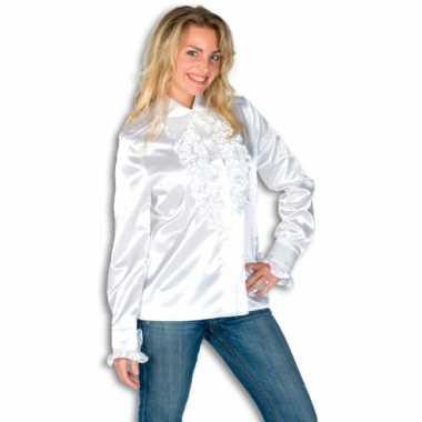 Dames overhemd wit met rouches voor carnaval