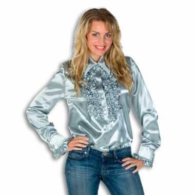 Dames overhemd zilver met rouches voor carnaval