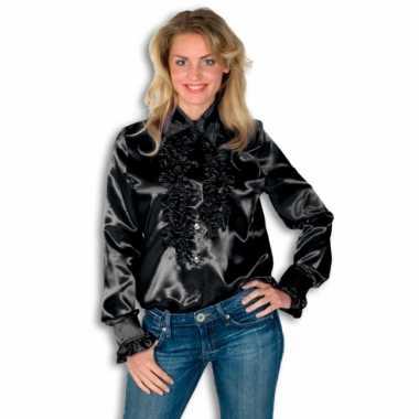 Dames overhemd zwart met rouches voor carnaval