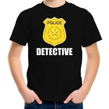 Detective police / politie embleem t-shirt zwart voor kinderen carnaval