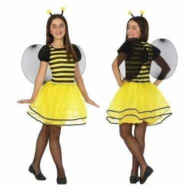 Dierenpak bij/bijen verkleed jurk/jurkje voor meisjes carnaval