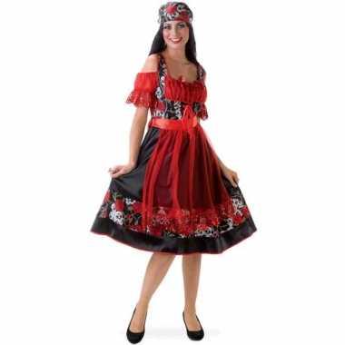 Dirndl jurkje rood met zwart voor carnaval