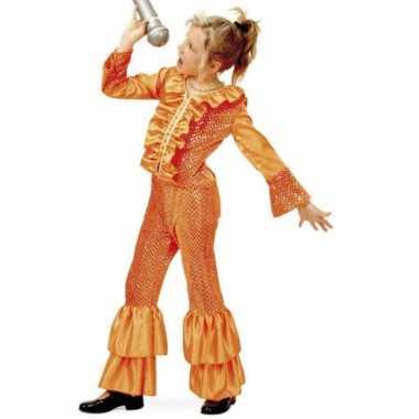 Disco kostuum voor meisjes oranje carnaval