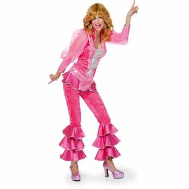Disco outfit voor dames roze carnaval
