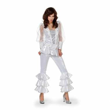 Disco outfit voor dames wit carnaval