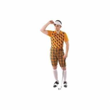 Drie delig golf kostuum oranje voor heren carnaval