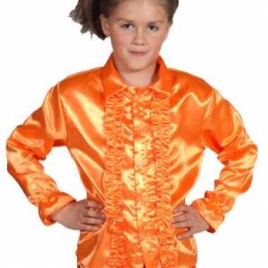 Feestblouse oranje voor kinderen carnaval