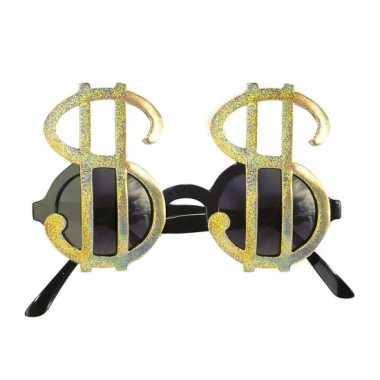 Feestbril dollarteken goud