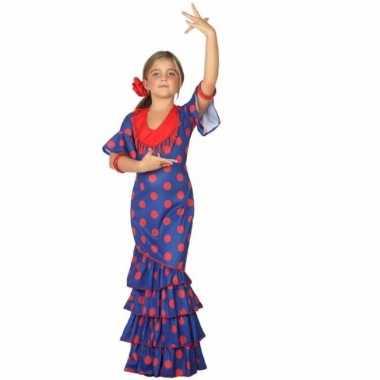 Flamenco jurk blauw met polkadots voor carnaval