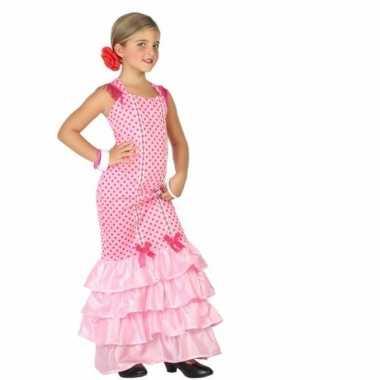 Flamenco jurk roze met polkadots voor carnaval