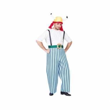 Gallier outfit blauw/wit voor heren carnaval