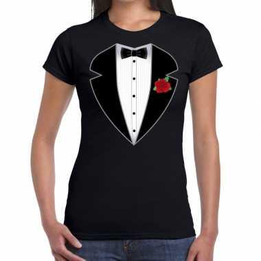 Gangster / maffia pak kostuum t-shirt zwart voor dames carnaval