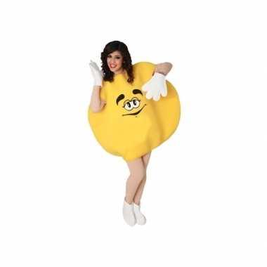 Geel snoepje pak voor volwassenen carnaval