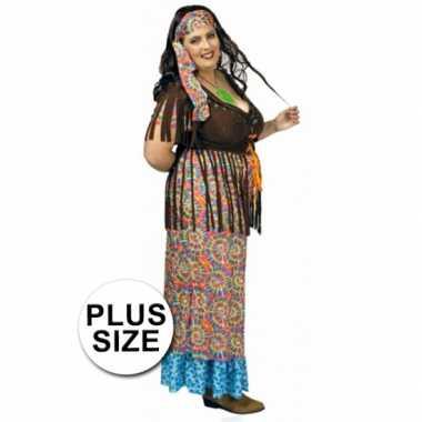 Gekleurd hippie grote maat dames pak voor carnaval