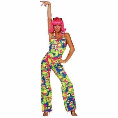 Gekleurde dames seventies kleding voor carnaval
