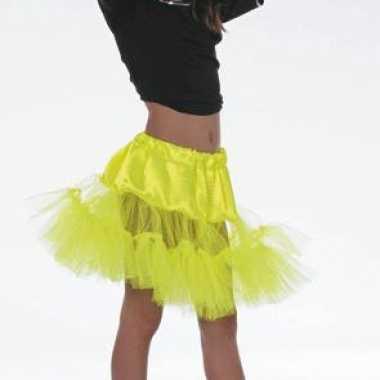 Gele petticoat onderrok voor meiden carnaval