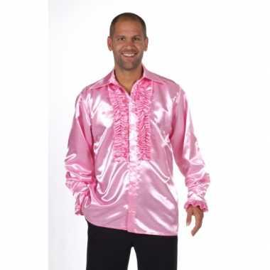 Glimmend roze overhemd met rouches voor carnaval