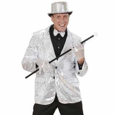 Glitter jas zilver heren voor carnaval