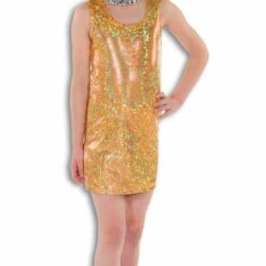 Goud glitter jurkje voor meisjes carnaval