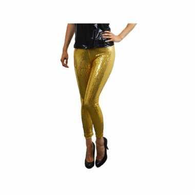 Gouden glitter legging met pailletten voor carnaval