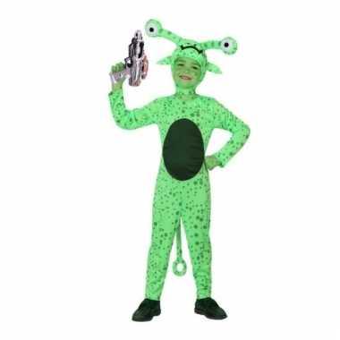 Groen alien kostuum met space gun maat 116 voor carnaval