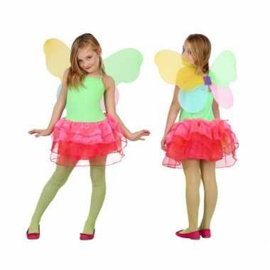 Groen met rode vlinder jurk voor kids carnaval