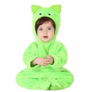 Groene kat onesie voor babys carnaval