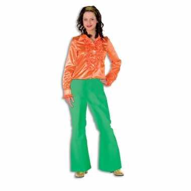 Groene seventies broek voor dames carnaval