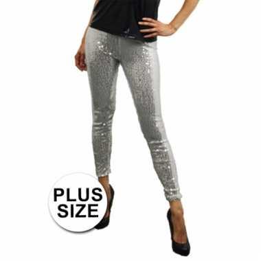Grote maat zilveren leggings met pailletten voor carnaval