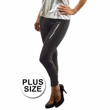 Grote maat zwarte leggings met pailletten voor carnaval