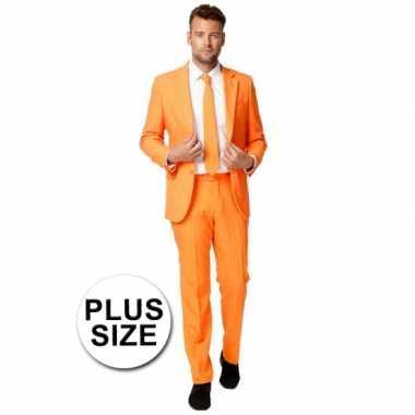 Grote maten heren pak oranje voor carnaval