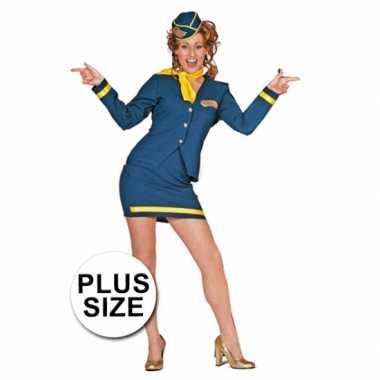 Grote maten verkleedkleding stewardess voor carnaval