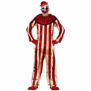 Halloween clownspak rood/wit gestreept voor heren carnaval