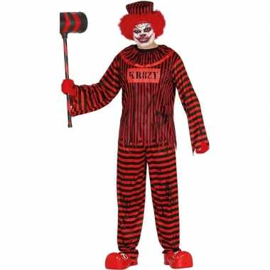 Halloween clownspak rood/zwart gestreept voor heren carnaval