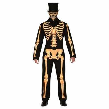 Halloween kostuum met geraamte voor heren carnaval