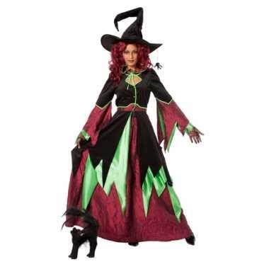 Heksen outfit rood/groen vrouwen voor carnaval
