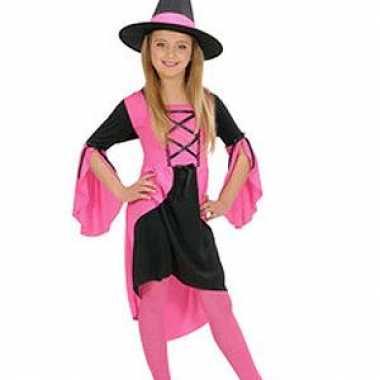 Heksenjurkje meisjes roze voor carnaval