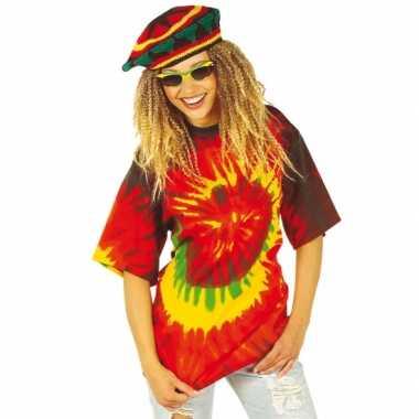 Hippie t-shirt gekleurd voor carnaval